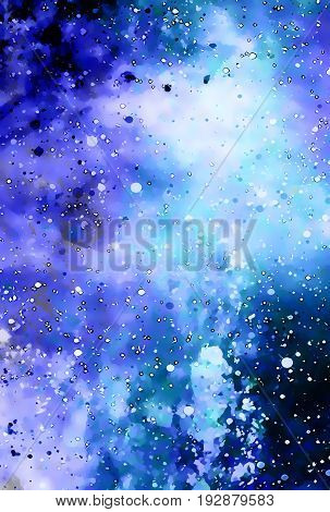 Cosmic space and stars, color cosmic abstract background. Winter effect