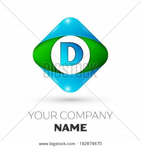 Realistic Letter D vector logo symbol in the colorful rhombus on white background. Vector template for your design