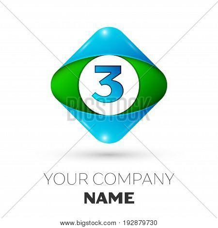 Realistic Number three vector logo symbol in the colorful rhombus on white background. Vector template for your design