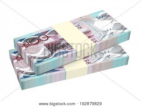 Barbadian dollar bills isolated on white background. 3D illustration.