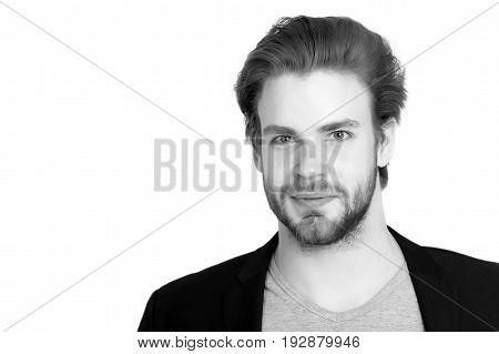 Bearded Smiling Man With Stylish Beard, Moustache Isolated On White