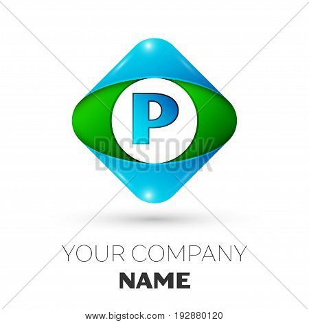 Realistic Letter P vector logo symbol in the colorful rhombus on white background. Vector template for your design
