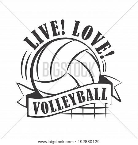 Vector illustration of yellow colored ball with live love volleyball text logo.