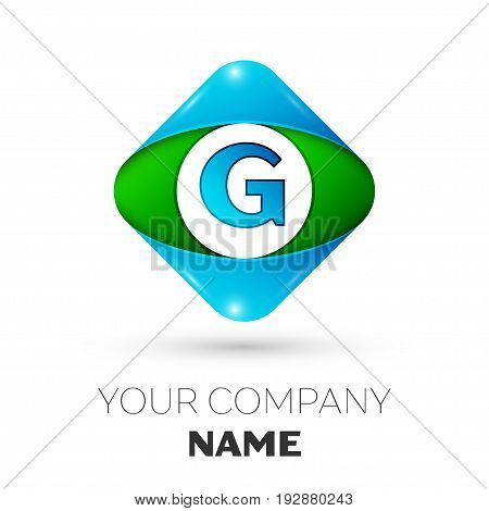 Realistic Letter G vector logo symbol in the colorful rhombus on white background. Vector template for your design