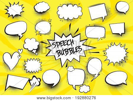 Comic isolated Speech Bubbles Set Collection vector