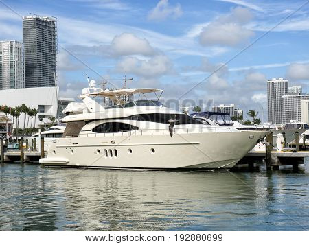Miami. Florida- january 5. 2016 : Downtown Miami along Biscayne Bay with condos yacht docked in the bay at summer day