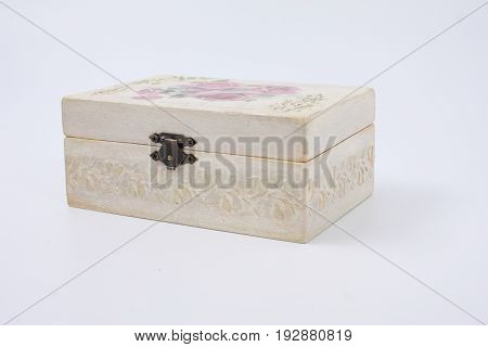Casket With Veils On A White Background.