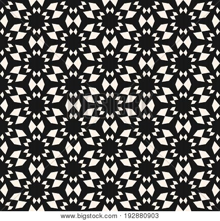 Vector seamless texture, floral tile pattern. Abstract dark monochrome geometric background with simple geometrical shapes, flowers stars. Oriental design element for decor, textile, furniture, cloth. Oriental pattern.