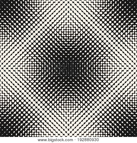 Vector monochrome background, gradually transition circles texture with different sized dots in square form. Abstract black & white background. Design element for prints, covers, web. Halftone Seamless Pattern.