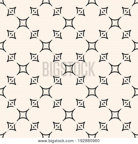 Minimalist geometric seamless pattern, vector delicate monochrome texture with smooth shapes, thin curved lines. Abstract subtle background repeat tiles. Design element for decor, fabric, furniture. Vector Pattern.