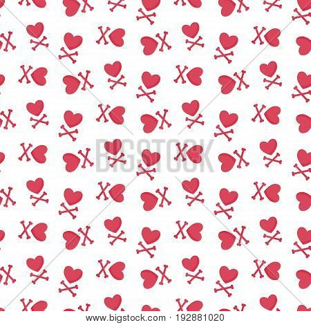 Heart and crossbones vector seamless pattern Flat design of love Valentine day or broken heart object with round shadow isolated on the white background vector illustration