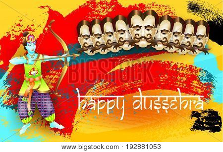 happy dussehra indian holiday poster with face of ravana, god krishna shooting bow and arrow and calligraphy inscription on brush stroke abstract background, modern art vector illustration