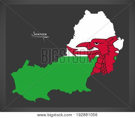 Swansea Wales Map With Welsh National Flag Illustration