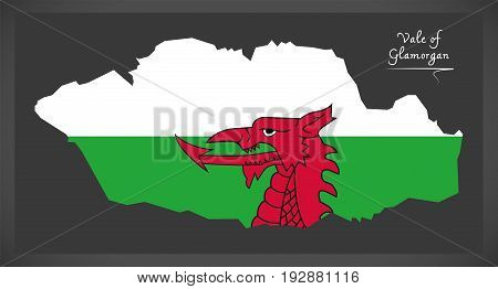 Vale Of Glamorgan Wales Map With Welsh National Flag Illustration