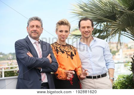 Sergio Castellitto, Jasmine Trinca, Stefano Accorsi attend the 'Fortunata' photocall during the 70th annual Cannes Film Festival at Palais des Festivals on May 21, 2017 in Cannes, France.