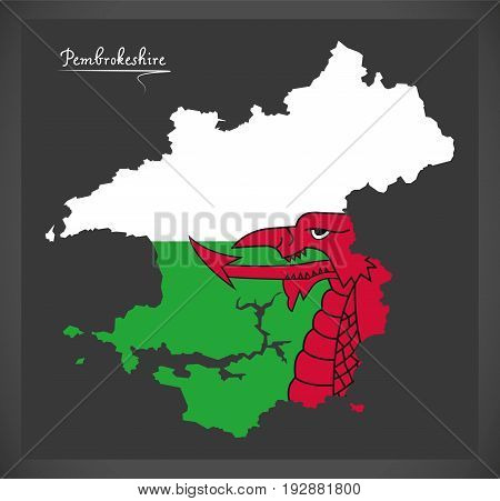 Pembrokeshire Wales Map With Welsh National Flag Illustration