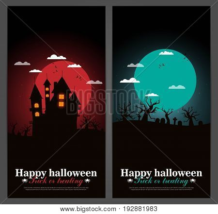 Set of Halloween night backgrounds set in flat style