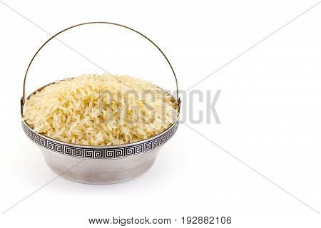 steamed rice in rare silver pial isolated on white background