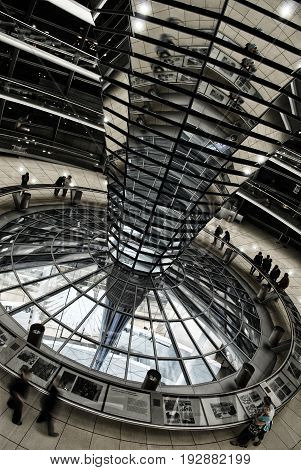 BERLIN, SEP,18, 2006 : Side view on modern Reichstag dome interior made of metal, glass and spiral foot walk on top of rebuilt Reichstag. Famous Berlin architecture Famous Berlin sightseeing places