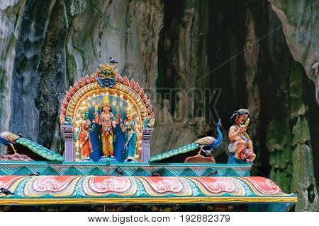 Indian Deity Statues decorating the Batu Caves from the outside Malaysia. The cave is one of the most popular Hindu shrines outside India