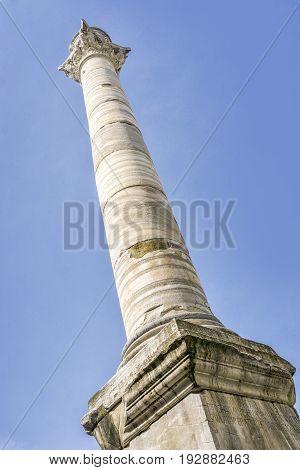 Ancient Column In Brindisi, Puglia, Italy