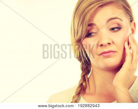 Teenage Girl In Braid Hair Being Bored