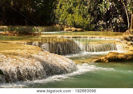 Waterfall in rain forest - Tat Kuang Si Waterfalls at Luang prabang, Laos