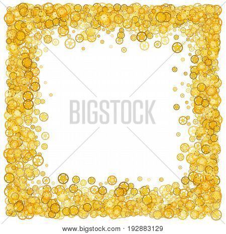 Card with many gears. Gold border. Shimmer. Golden frame of gears. Confetti. Technological frame