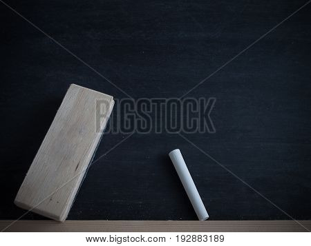 Chalk rubbed out and brush delete board on blackboard background texture for add text or graphic design.