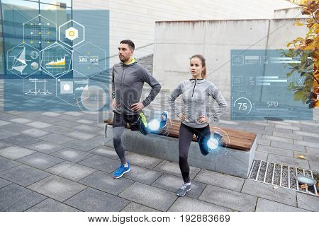 fitness, sport and people concept - couple doing lunge exercise at bench city street