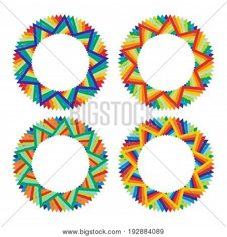 Abstract color star template set with copy space area