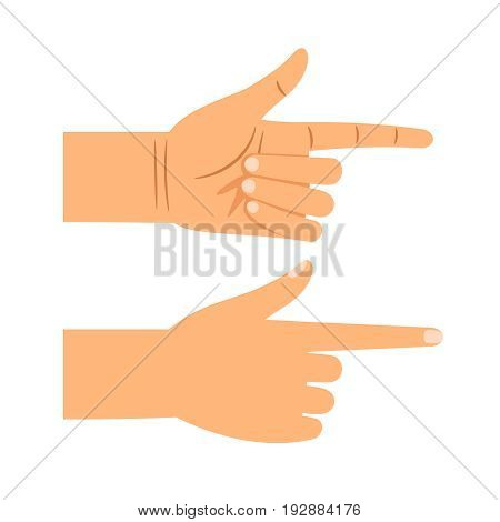 Finger pointing gesture vector illustration. Showing or choosing hand front and back view isolated on white background