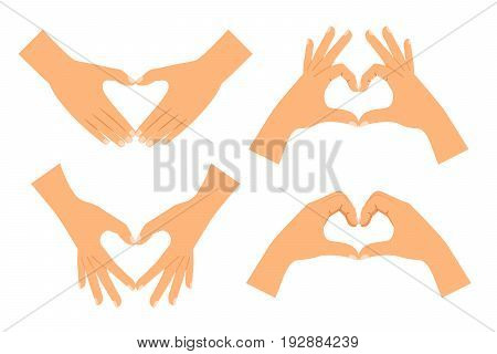 Two hands making heart shape isolated on white background. Love hand sign vector illustration