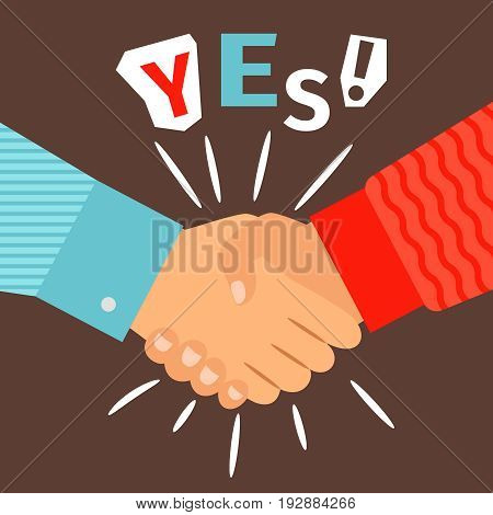 Handshake diverse casual hands meeting, welcome or success shaking sign vector illustration