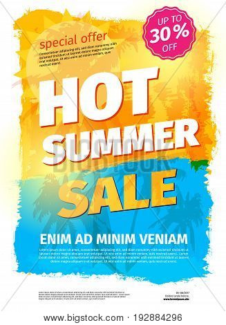 Template for HOT SUMMER SALE with sample text - vector illustration
