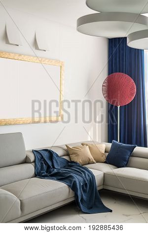 Room in a modern style with white walls and light tiled floor. There are sofas with multicolored pillows and a blue plaid, fancy red lamp, hanging round lamps, window with curtains. Indoors. Vertical.
