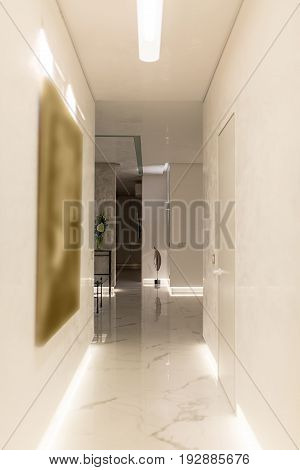 Corridor in a modern style with light walls and a tiled floor. There is a hall with tables, flowers in a vase, metal decoration in a form of the feather, luminous lamps. Indoors. Vertical.