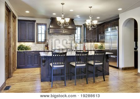 Angled view of luxury kitchen