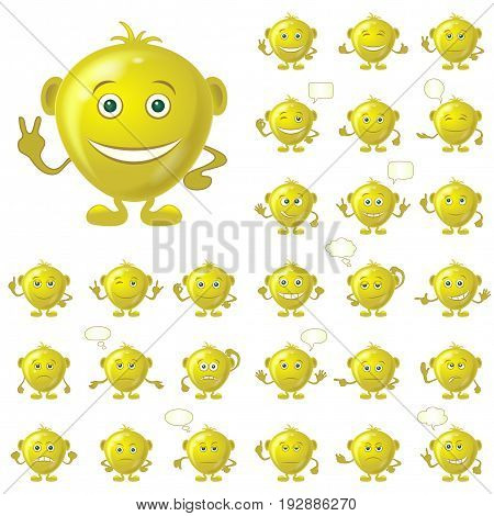 Set of Golden Smileys with Hands and Feet, Symbolising Various Human Emotions, Isolated on White Background. Eps10, Contains Transparencies. Vector