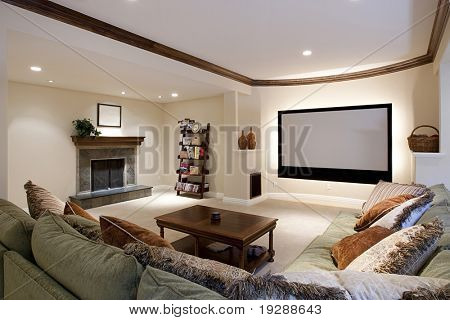 Wide angle of theater room