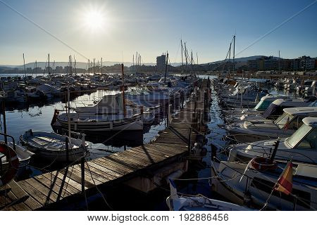 Boats Moored In The Port Of Palamos. Girona, Spain.