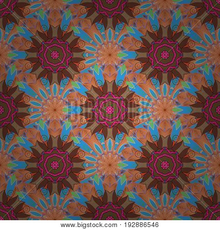Magic vintage template of greeting print cloth. Ethnic ornament on background. Arabic indian turkish and ottoman culture decoration style. Hand drawn vector colored Mandala seamless pattern.