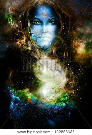 goddess woman and symbol Yin Yang in cosmic space