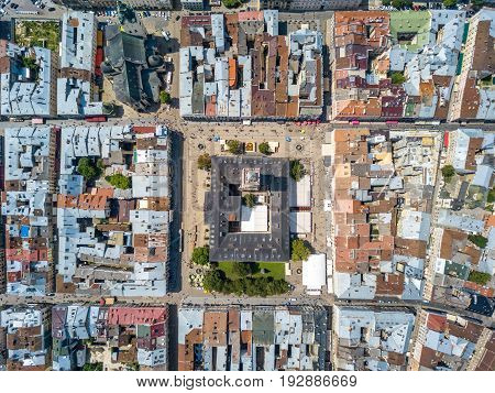 Snapshot of Lviv made by drones from the air. The nadir frame. June 2017. Square market, city center.