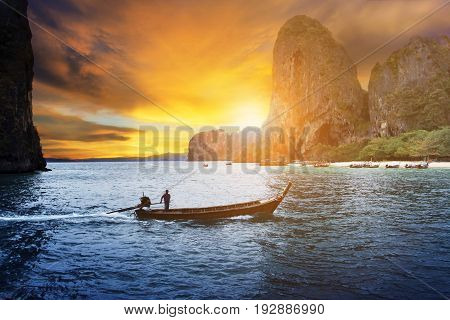 long tail boat in andaman sea southern of thailand