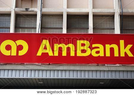 KOTA KINABALU MALAYSIA- JUN 24 2017: Ambank signboard on the street in Kota Kinabalu Sabah. Ambank building is the fifth largest banking group in Malaysia