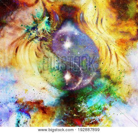 Yin Yang Symbol in cosmic space. Cosmic background. Fire effect