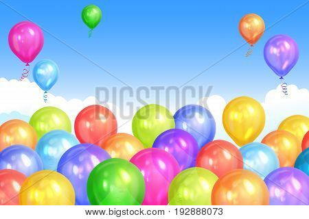 Border of realistic colorful helium balloons isolated on sky background. Party decoration frame for birthday anniversary celebration. Vector illustration