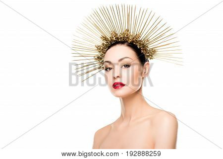 Portrait Of Glamorous Naked Model Posing In Golden Headpiece Isolated On White