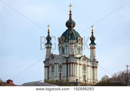KIEV, UKRAINE - MAY 1, 2011: St. Andrew's Church is an Orthodox church in honor of the Apostle Andrew the First-Called which was built in the Baroque style by architect Bartolomeo Rastrelli in 1754.